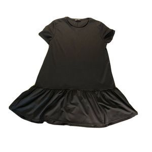 Zara Black Short Sleeve Dress w/Ruffle Edge XL NWT
